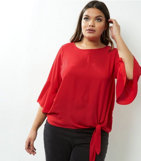 Curves Red Bell Sleeve Tie Side Top | New Look