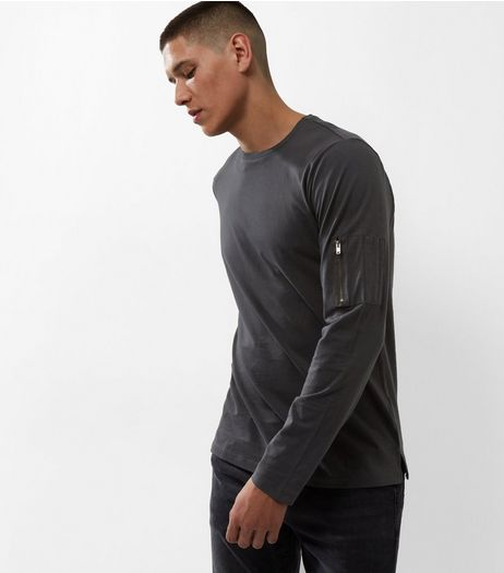 Grey Zip Pocket Sleeve Top | New Look