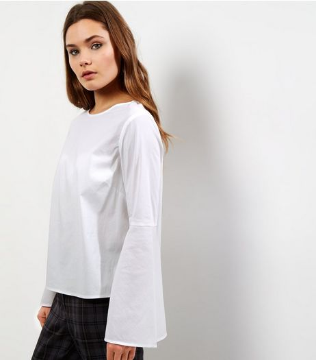 White Flare Sleeve Top | New Look