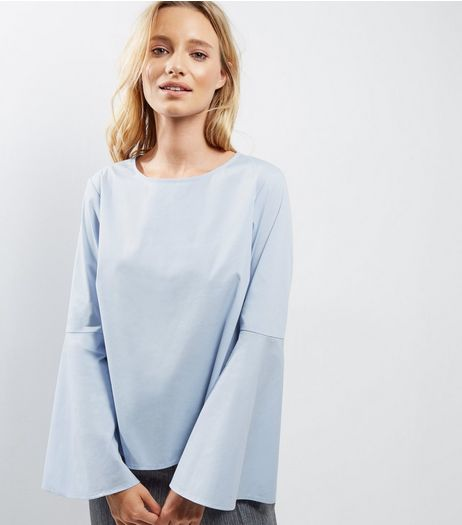 Light Blue Flare Sleeve Top | New Look