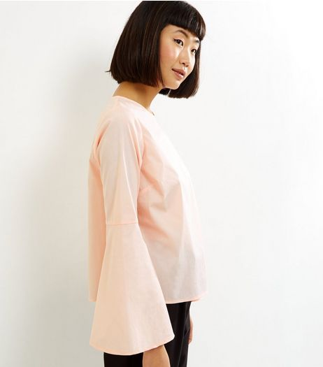 Shell Pink Flare Sleeve Top | New Look