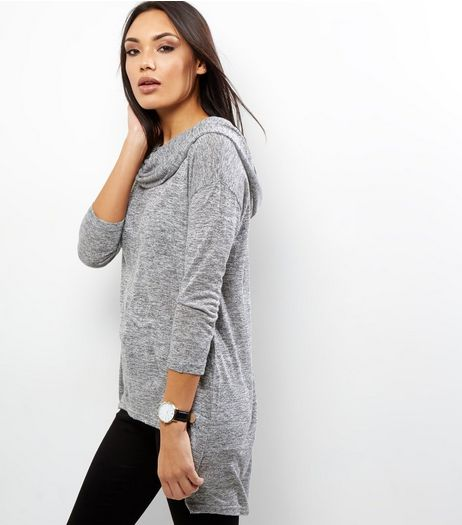 Apricot Pale Grey Space Dye Cowl Neck Top | New Look