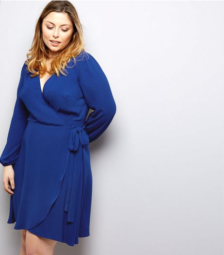 Curves Blue Wrap Front Dress | New Look