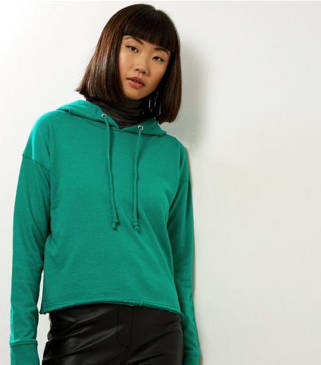 Green Cropped Hoodie | New Look