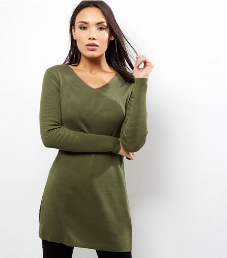 Apricot Khaki Side Split Ribbed Jumper | New Look