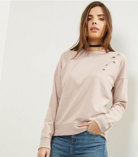 Stone Ripped Long Sleeve Sweater  | New Look