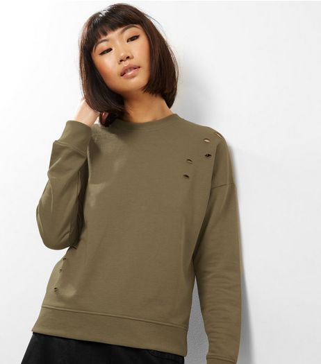 Khaki Long Sleeve Cut Out Sweater  | New Look