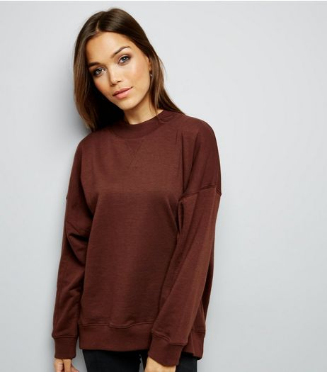 Dark Brown Balloon Sleeve Sweater  | New Look