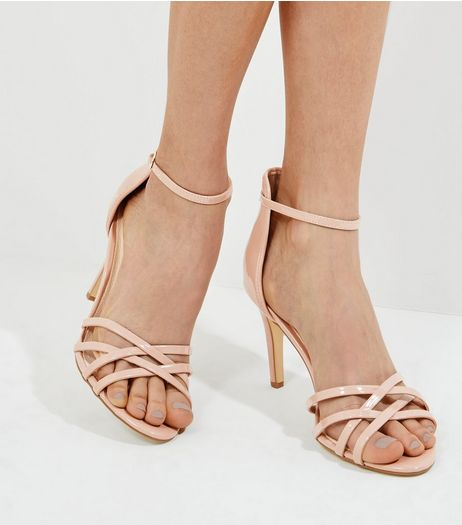 Pink Comfort Patent Heeled Sandals | New Look
