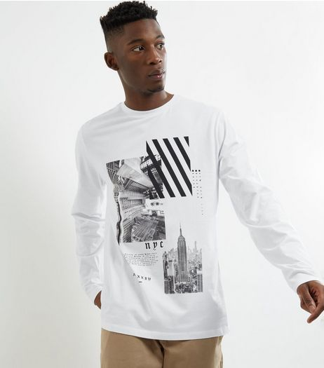 White NYC Graphic Print Long Sleeve T-shirt | New Look