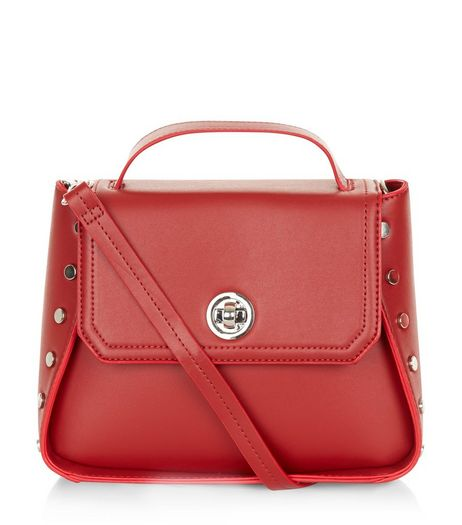Red Stud Side Handbag | New Look