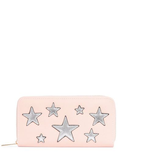 Nude Pink Metallic Embellished Star Zip Around Purse | New Look