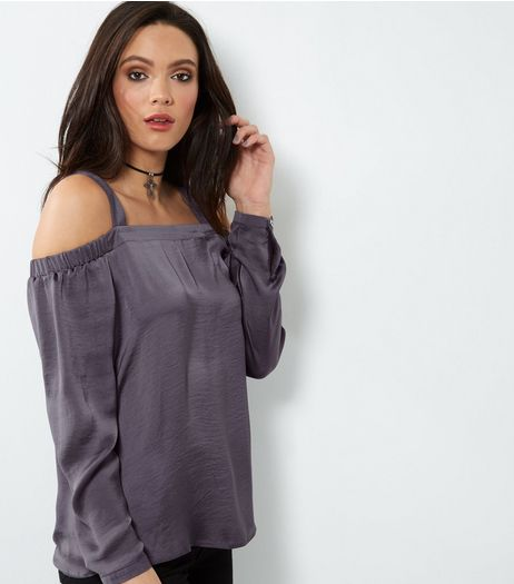 Tall Dark Grey Sateen Cold Shoulder Top  | New Look