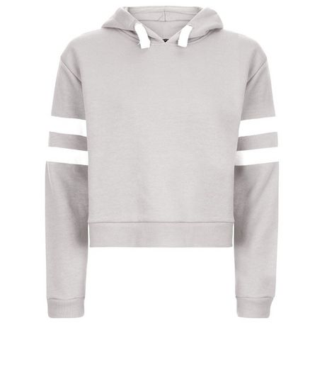 Teens Grey Stripe Sleeve Hoodie | New Look