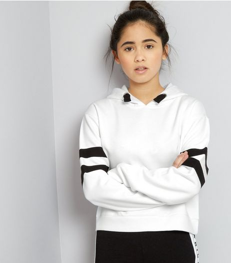 Teens White Contrast Stripe Hoodie | New Look