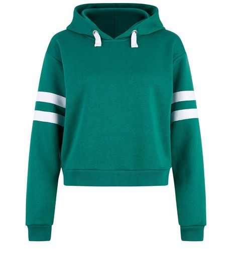 Teens Green Stripe Sleeve Hoodie | New Look