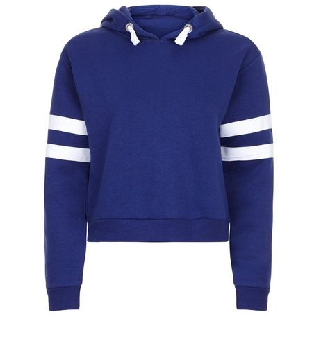 Teens Blue Stripe Hoodie  | New Look