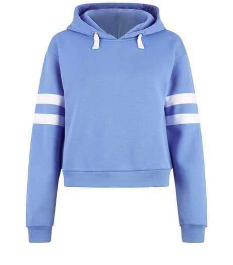 Teens Blue Stripe Sleeve Hoodie | New Look