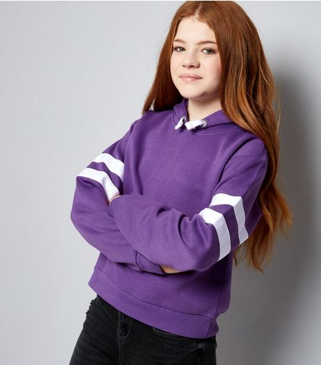 Teens Purple Stripe Sleeve Hoodie  | New Look