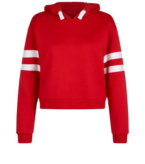 Teens Red Stripe Sleeve Hoodie | New Look