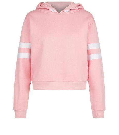 Teens Pink Stripe Sleeve Hoodie | New Look