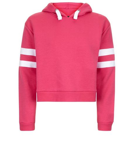 Teens Deep Pink Stripe Sleeve Hoodie | New Look