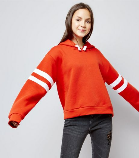 Teens Orange Stripe Sleeve Hoodie | New Look
