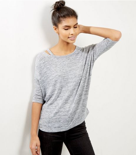 Petite Grey Cut Out Shoulder Top | New Look