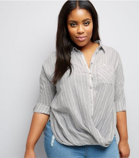 Curves Pale Grey Stripe Wrap Front Shirt  | New Look
