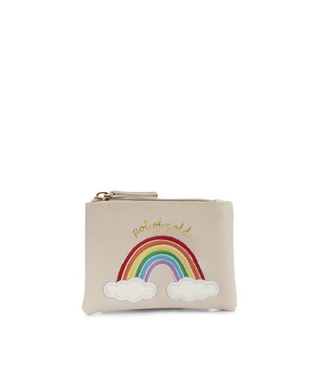 Cream Pot Of Gold Zip Top Purse | New Look