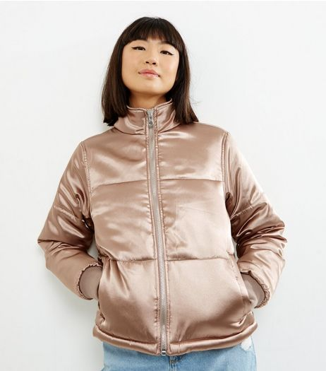 Shell Pink Sateen Puffer Jacket  | New Look