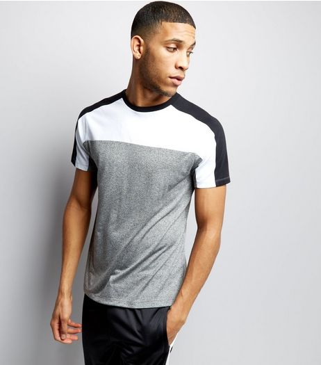 Grey Colour Block Short Sleeve T-Shirt  | New Look
