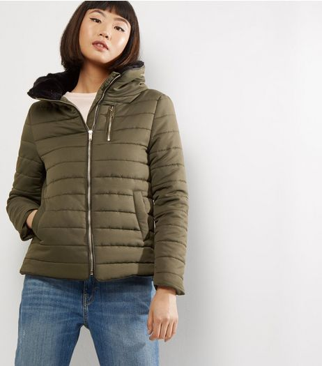 Khaki Fitted Padded Puffer Jacket  | New Look