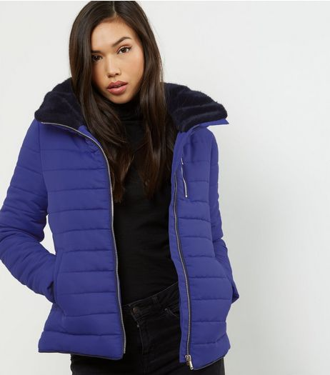 Blue Fitted Padded Puffer Jacket | New Look