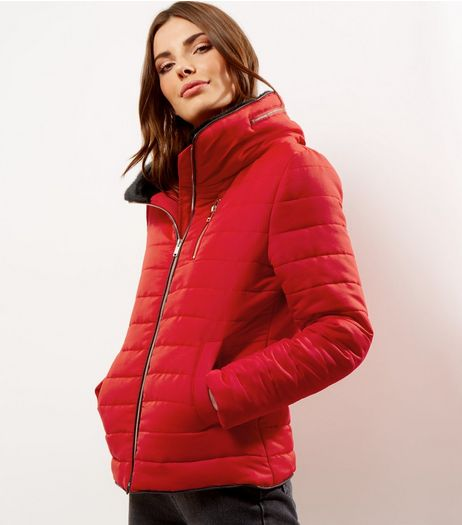 Red Fitted Padded Puffer Jacket | New Look