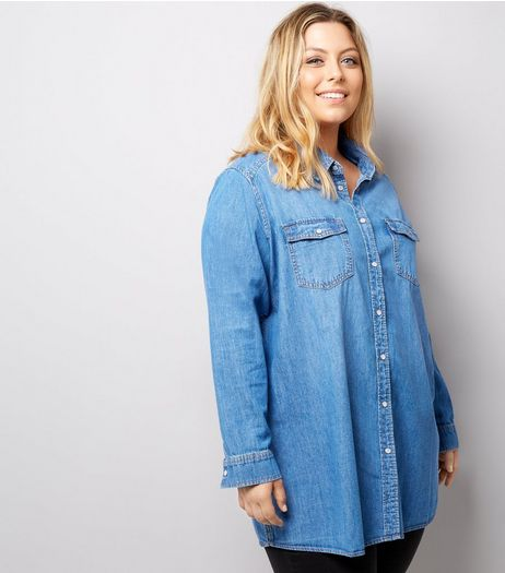 Curves Blue Denim Oversized Shirt | New Look