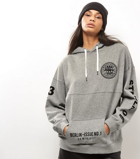 Grey 1993 International Badge Print Oversized Hoodie | New Look