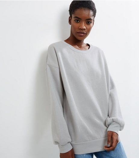 Pale Grey Balloon Sleeve Sweater  | New Look