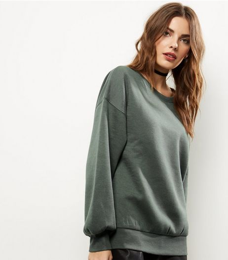 Khaki Balloon Sleeve Sweater  | New Look