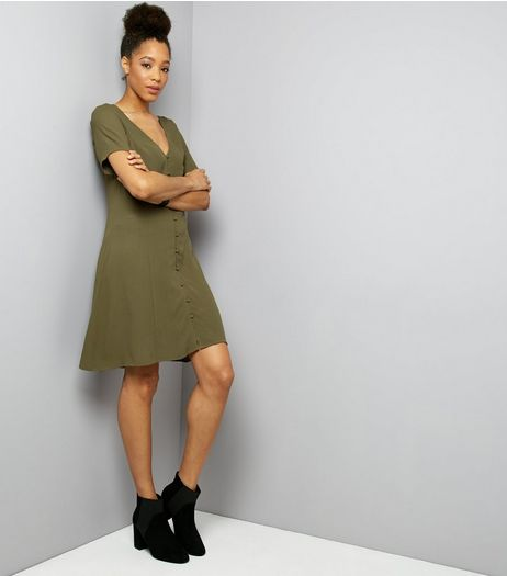 Khaki Button Front Short Sleeve Skater Dress | New Look