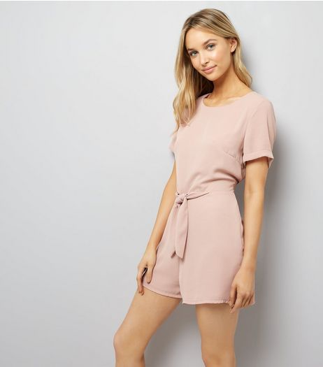 Shell Pink Tie Front Short Sleeve Playsuit | New Look