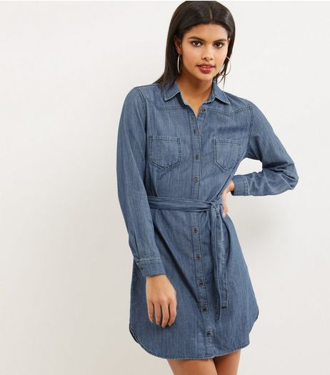 Blue Long Sleeve Denim Shirt Dress | New Look
