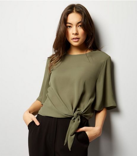 Khaki Tie Front Top | New Look