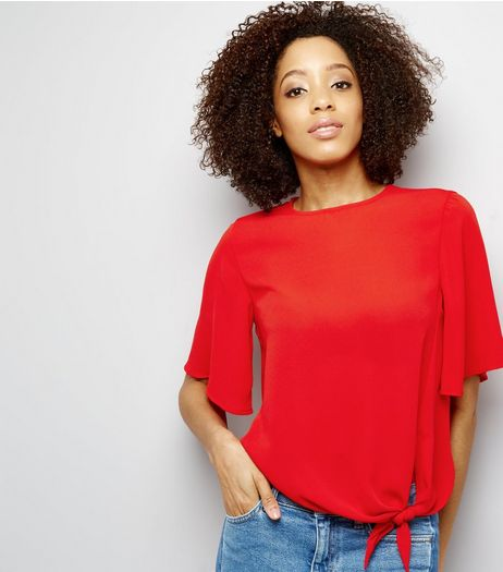 Red Short Sleeve Tie Front Top  | New Look