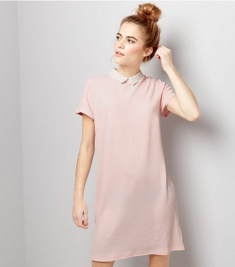 Pink Contrast Collar Short Sleeve Tunic Dress  | New Look