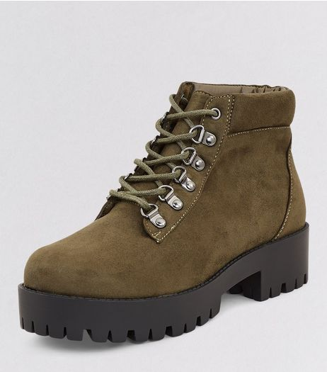 Teens Khaki Suedette Chunky Ankle Boots | New Look