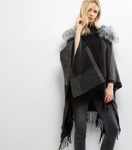 Apricot Grey Faux Fur Collar Cape | New Look