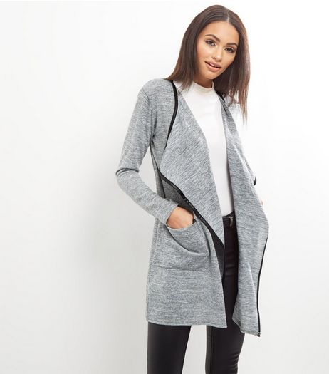 Cameo Rose Grey Contrast Trim Waterfall Cardi | New Look