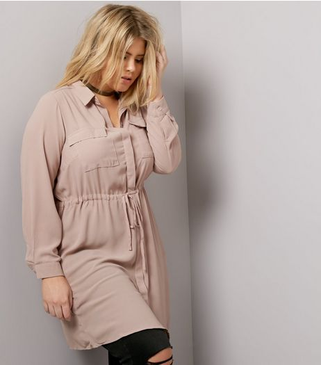Curves Pink Long Sleeve Shirt Dress | New Look