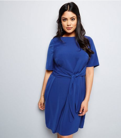 Curves Blue Tie Front Dress | New Look